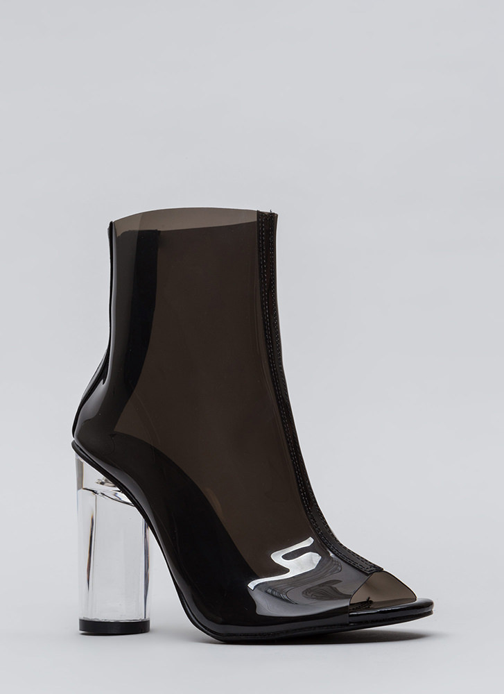 Cylinder Chic Clear Lucite Booties BLACK