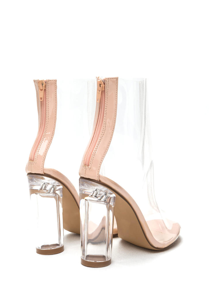 Cylinder Chic Clear Lucite Booties CLEAR