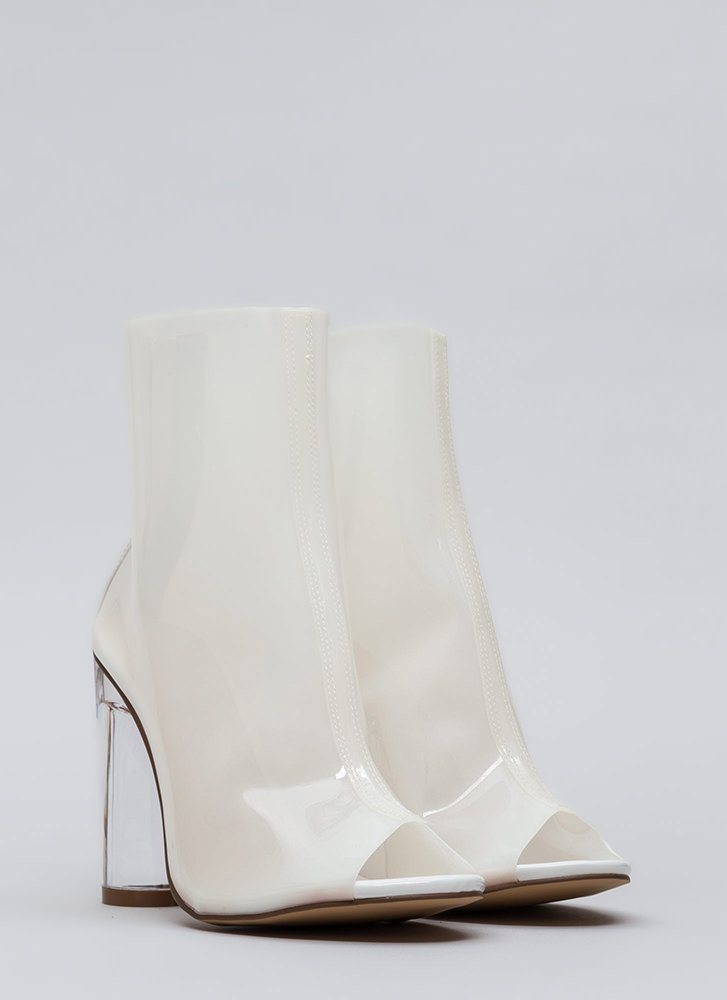 Cylinder Chic Clear Lucite Booties WHITE
