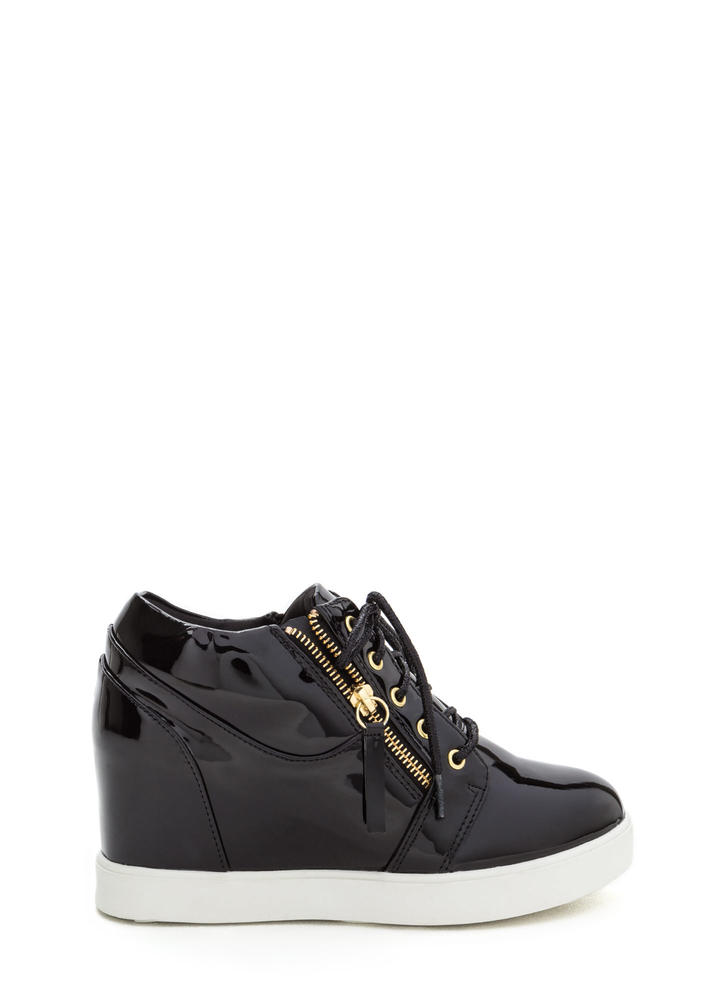 So Slick Vegan Patent Wedge Sneakers