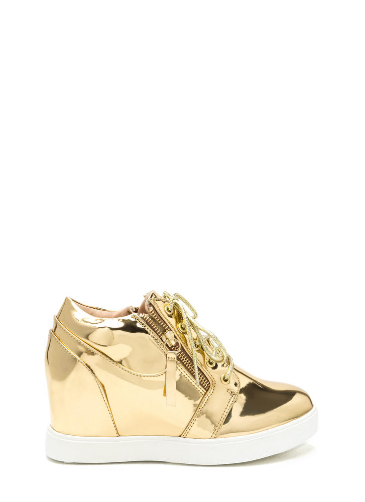 So Slick Metallic Wedge Sneakers Image