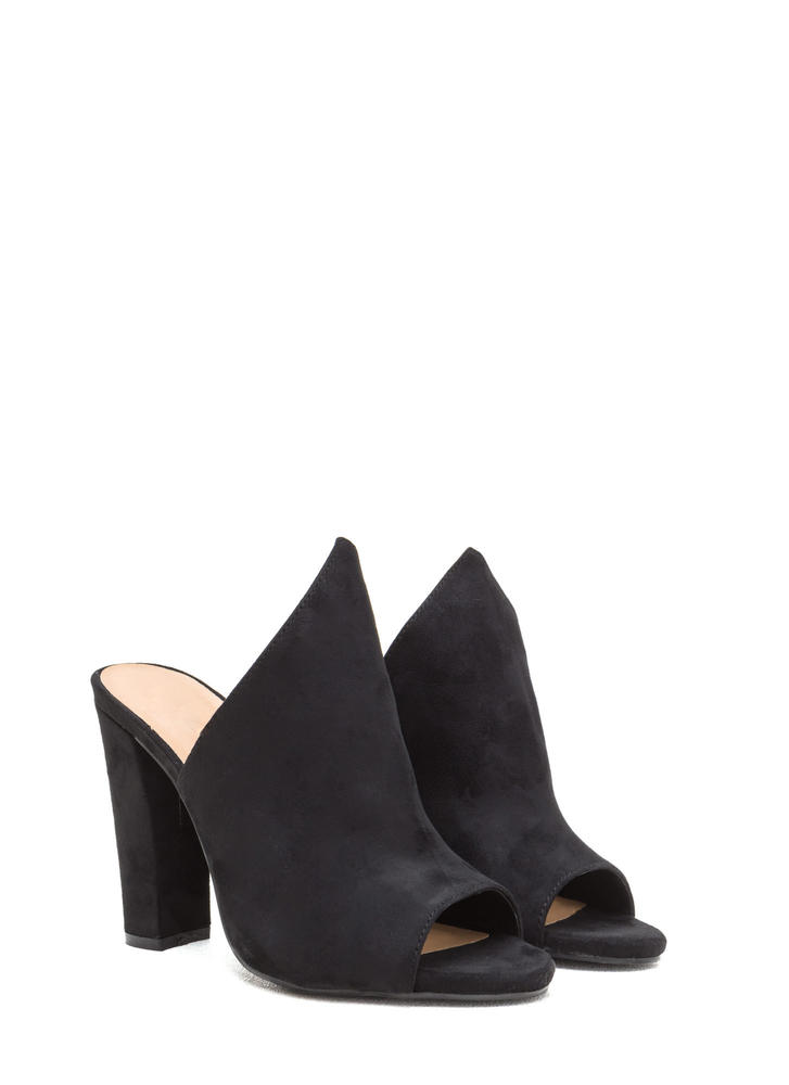 Point Up Chunky Faux Suede Mules BLACK