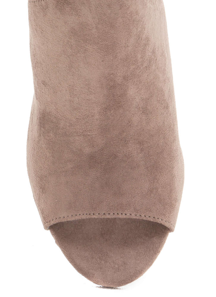 Point Up Chunky Faux Suede Mules TAUPE