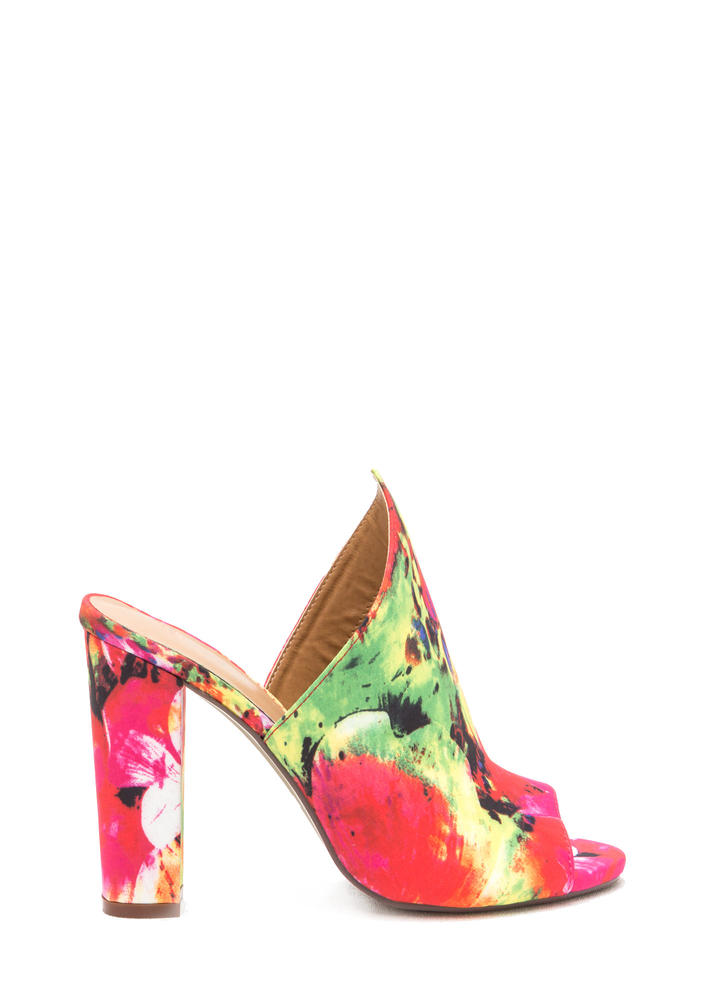 Point Up Chunky Floral Print Mules