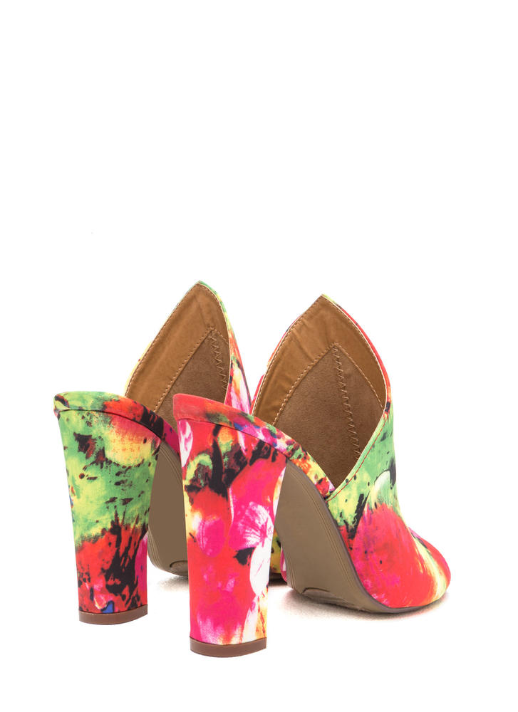 Point Up Chunky Floral Print Mules REDMULTI