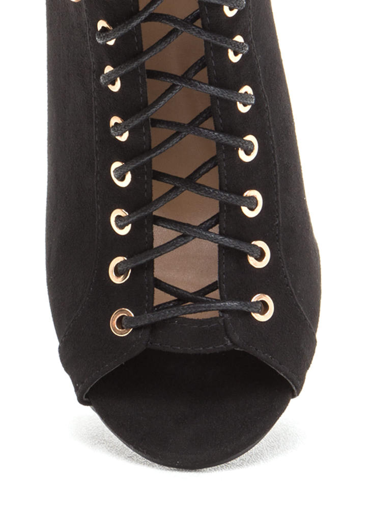 Simply Flawless Lace-Up Chunky Booties BLACK