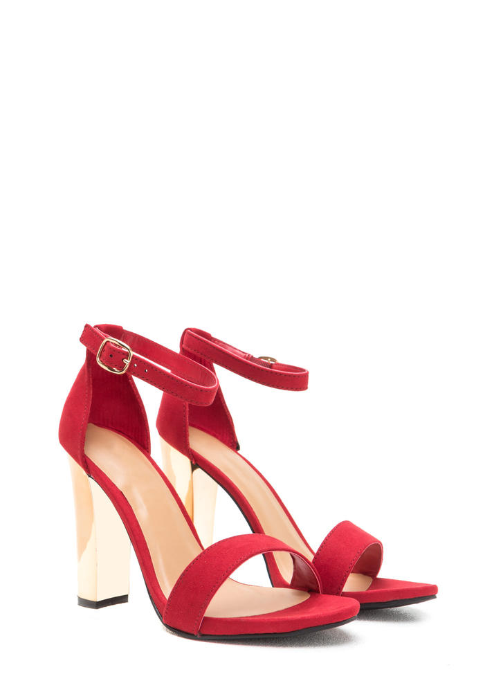 Well Dressed Faux Suede Chunky Heels RED (Final Sale)