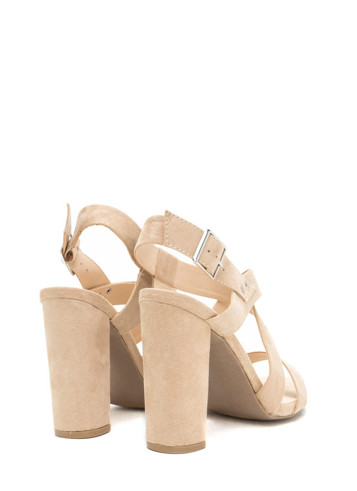 So Strappy Crisscrossed Chunky Heels NATURAL