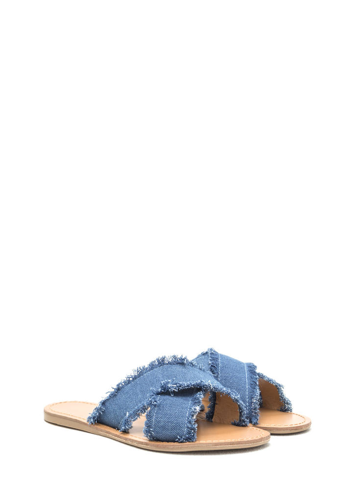 Chic Trick Strappy Denim Slide Sandals BLUE