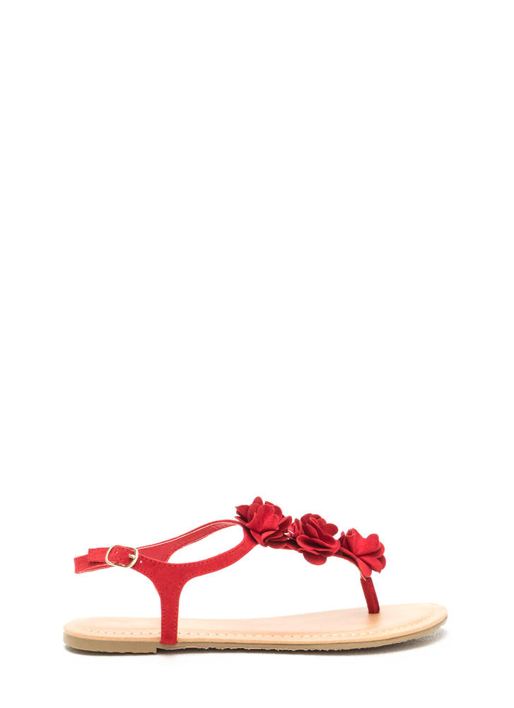 Pretty Petals Faux Suede T-Strap Sandals