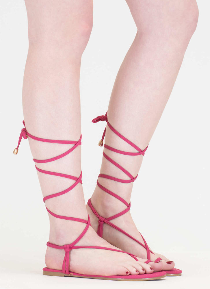 Chic Vacay Faux Nubuck Lace-Up Sandals FUCHSIA