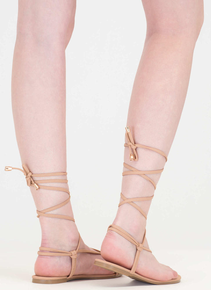 Chic Vacay Faux Nubuck Lace-Up Sandals NUDE