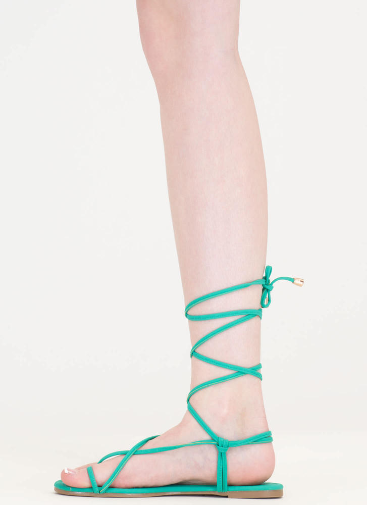 Chic Vacay Faux Nubuck Lace-Up Sandals SEAGREEN