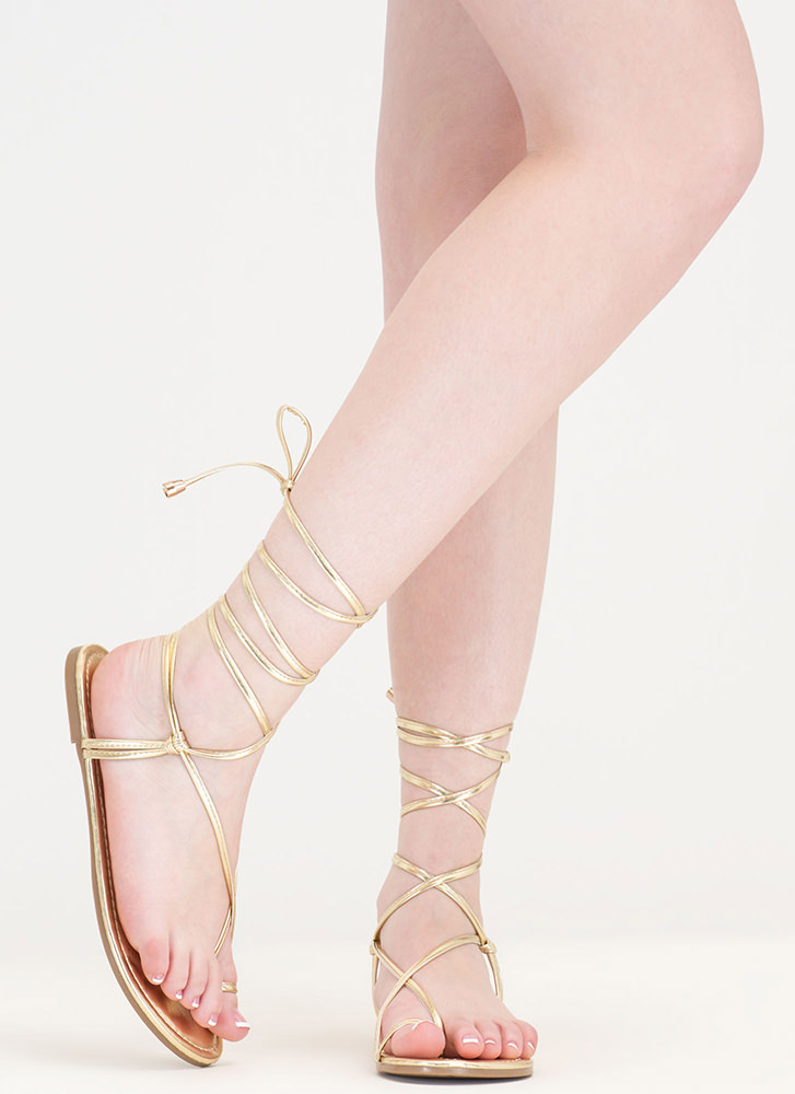Chic Vacay Metallic Lace-Up Sandals LTGOLD