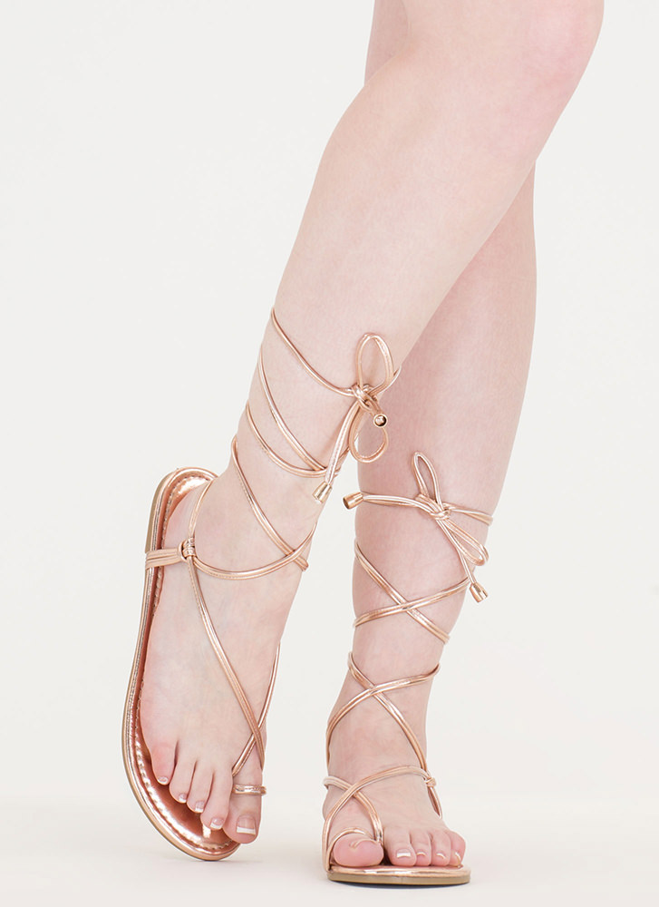 Chic Vacay Metallic Lace-Up Sandals ROSEGOLD