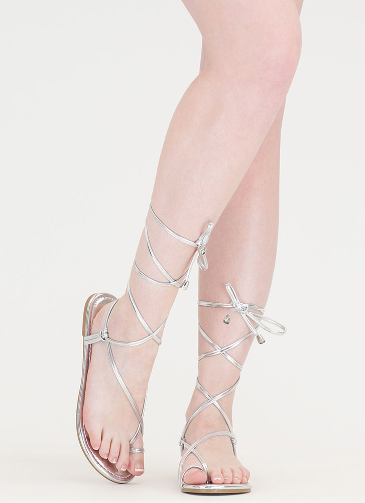 Chic Vacay Metallic Lace-Up Sandals SILVER