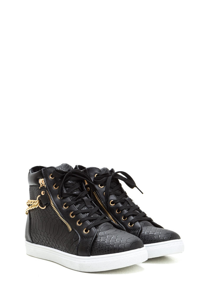 Scale Up Double Chain High-Top Sneakers BLACK