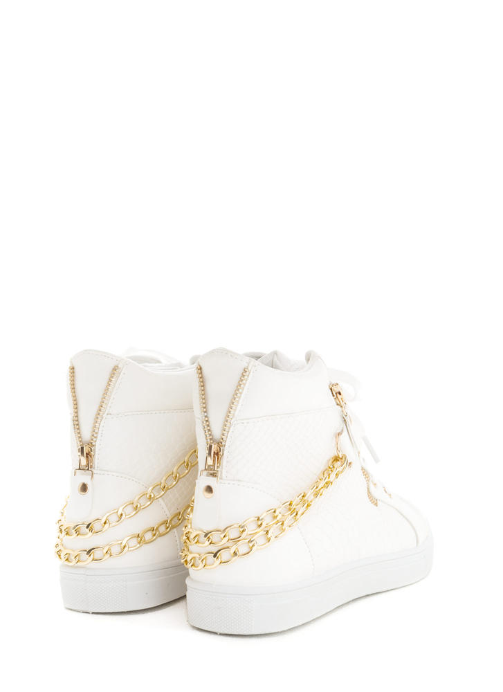 Scale Up Double Chain High-Top Sneakers WHITE