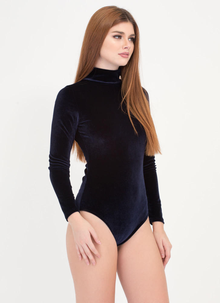 Rush Into Plush Velvet Bodysuit NAVY