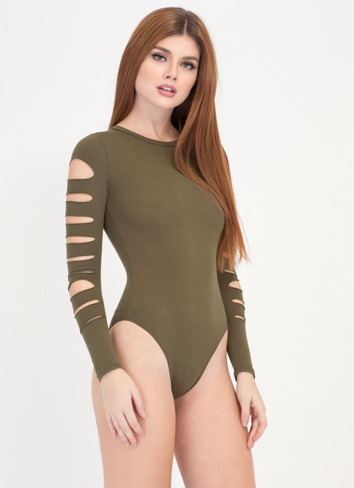 Slits For The Best Strappy Bodysuit OLIVE
