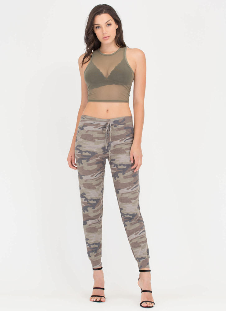 Sheer Brilliance Cropped Mesh Tank OLIVE