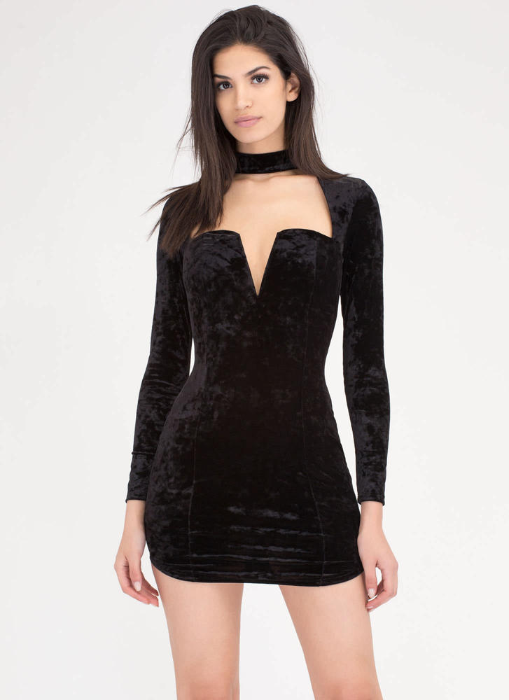 Collared Sweetheart Crushed Velvet Dress