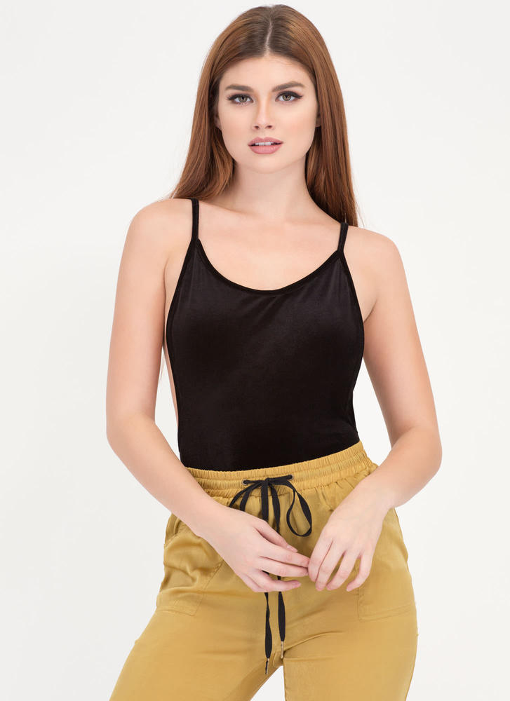 Plush Forward Velvet Scoop Bodysuit BLACK