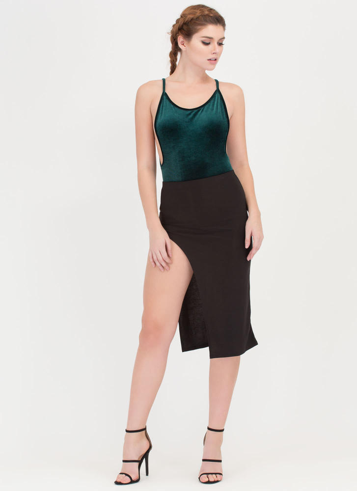 Plush Forward Velvet Scoop Bodysuit HGREEN