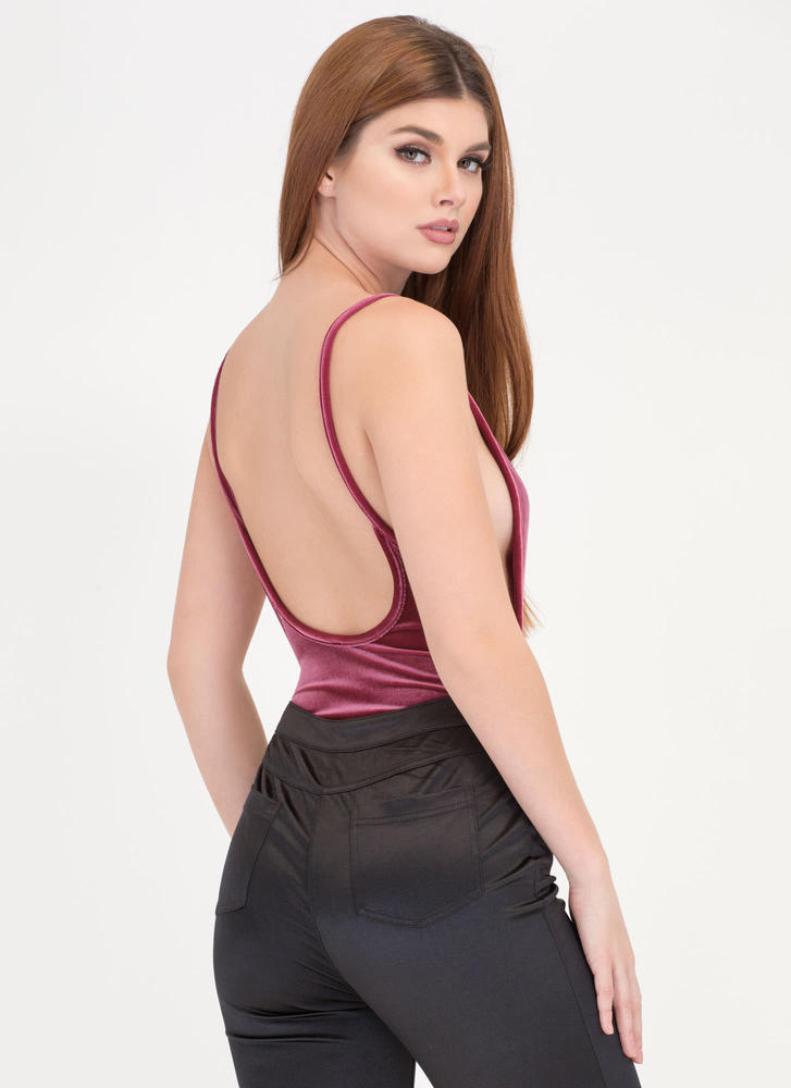 Plush Forward Velvet Scoop Bodysuit MAUVE
