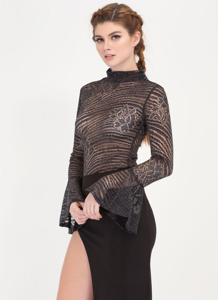I Sparkle Lacy Bell Sleeve Bodysuit BLACK