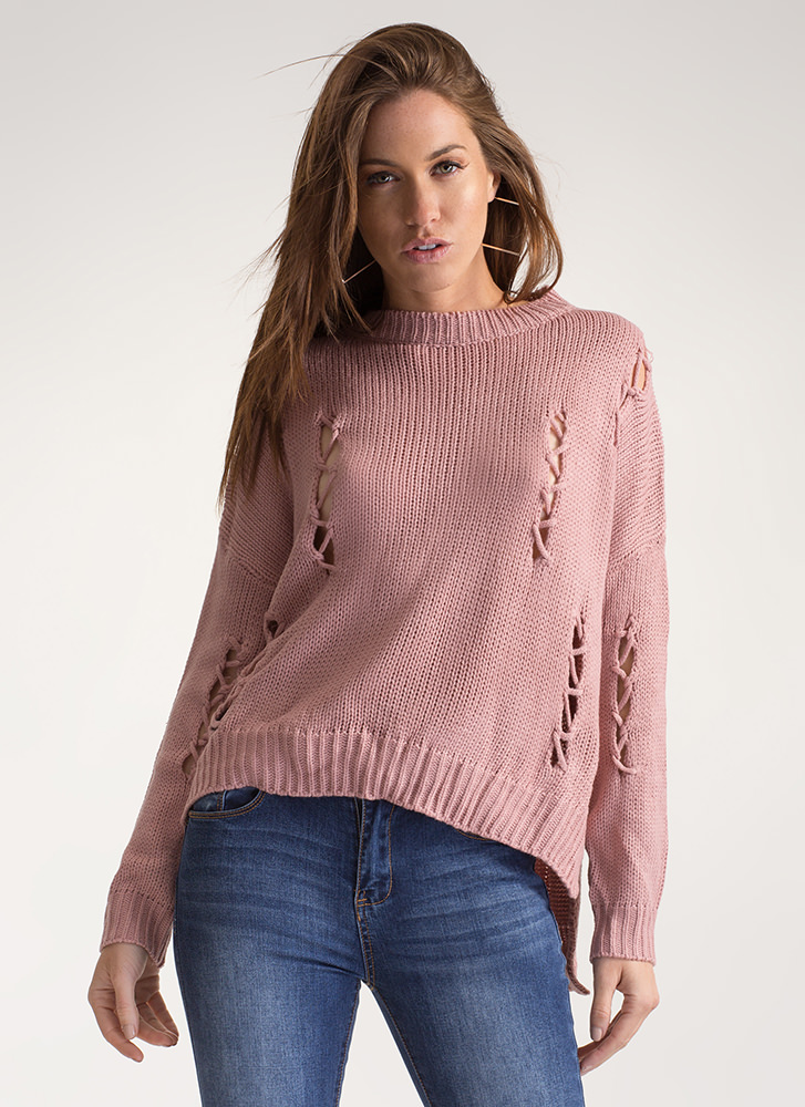 Knit Me A Distressed Dolman Sweater