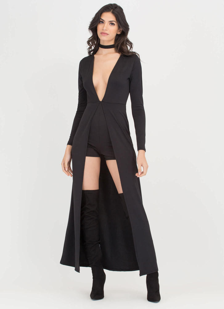 Hide 'N Fleek Plunging V-Neck Maxi BLACK (Final Sale)