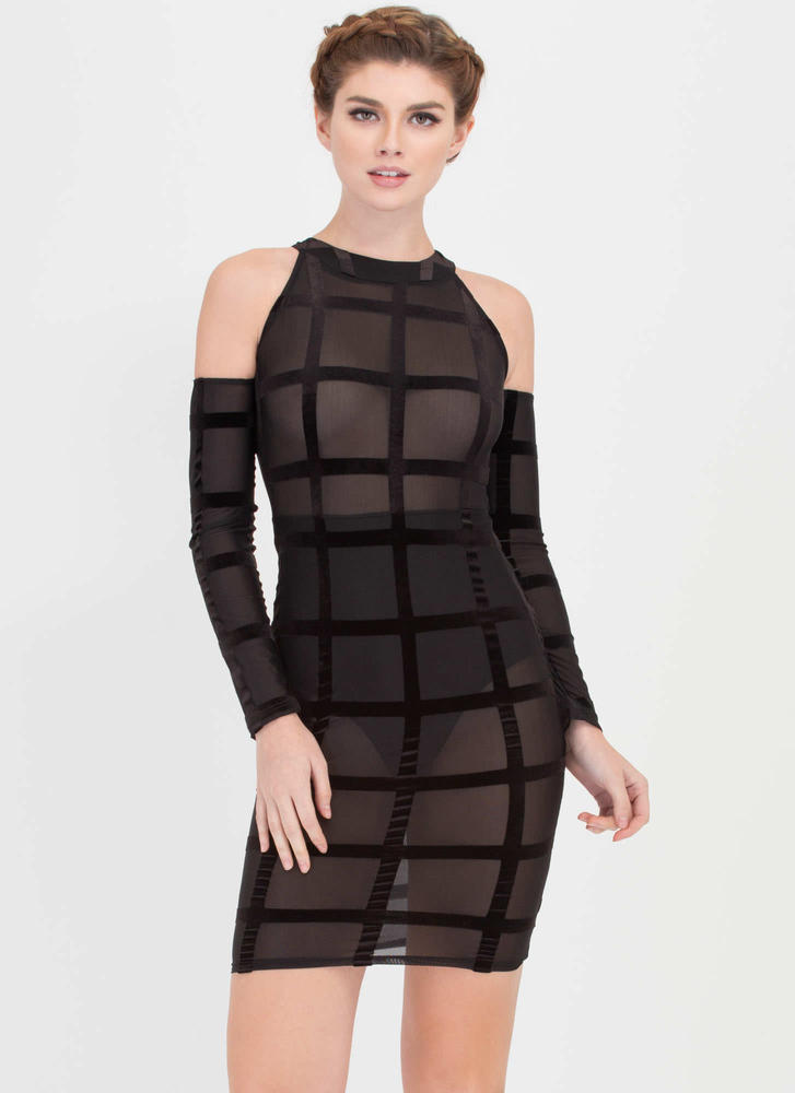Grid To See You Velvet Mesh Midi Dress
