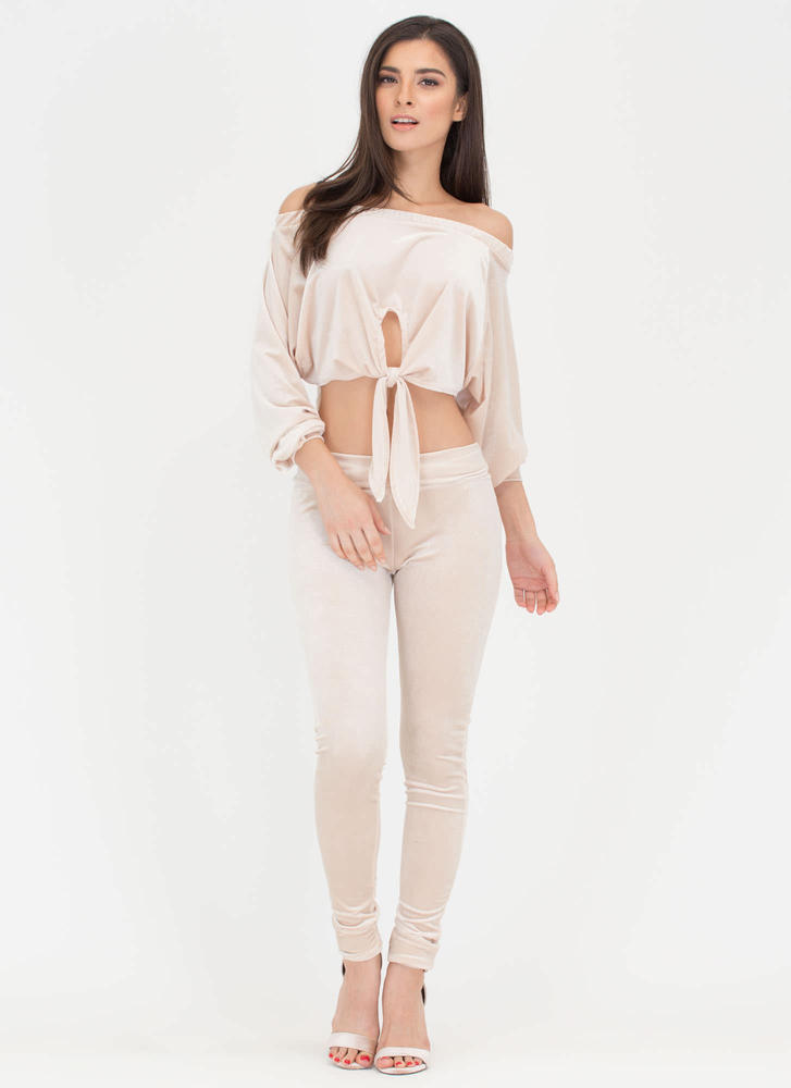 Knot So Fast Velvet Top 'N Pants Set TAUPE