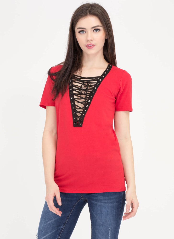 Rockstar Lifestyle Lace-Up Grommet Top