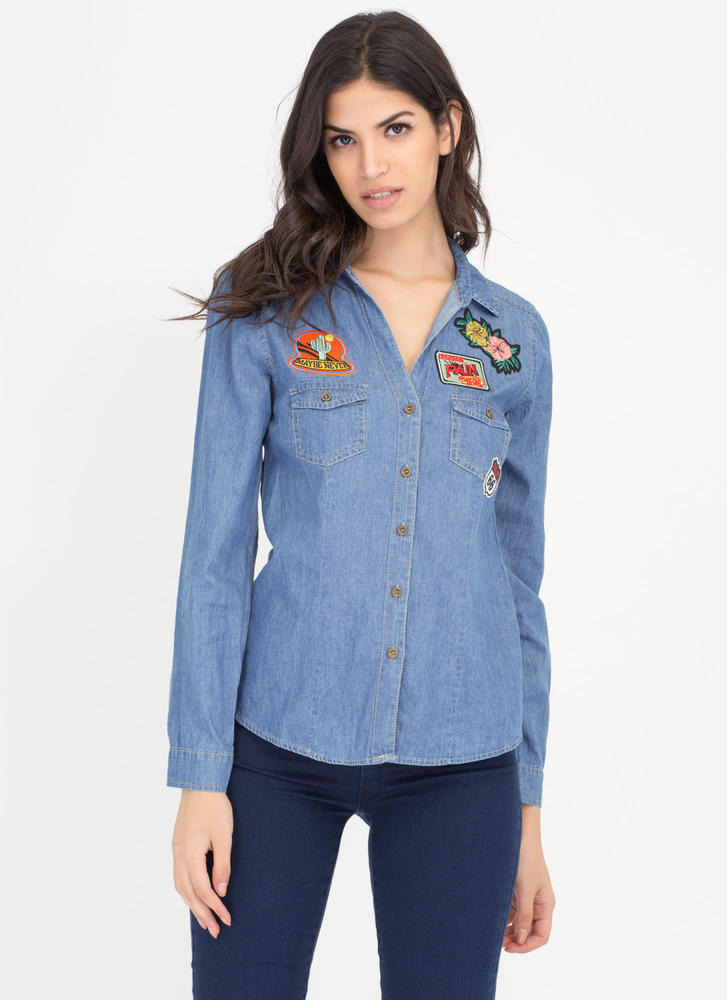 Road Trip Patch Chambray Button-Up Shirt