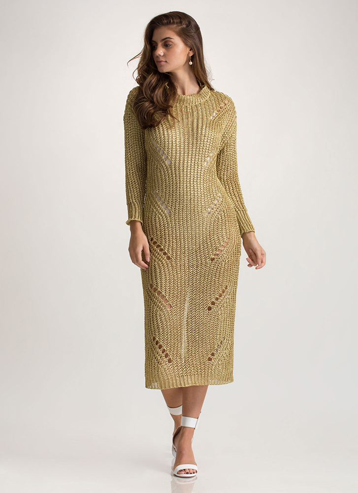Glitz It Metallic Sweater Dress GOLD
