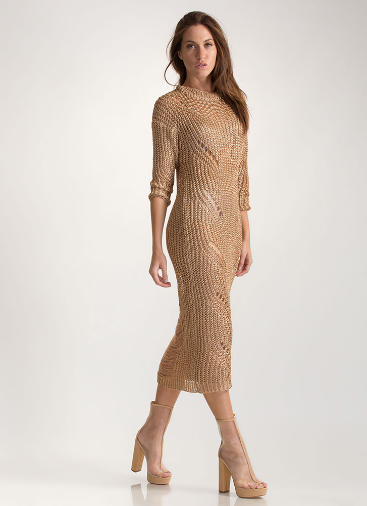 Glitz It Metallic Sweater Dress ROSEGOLD