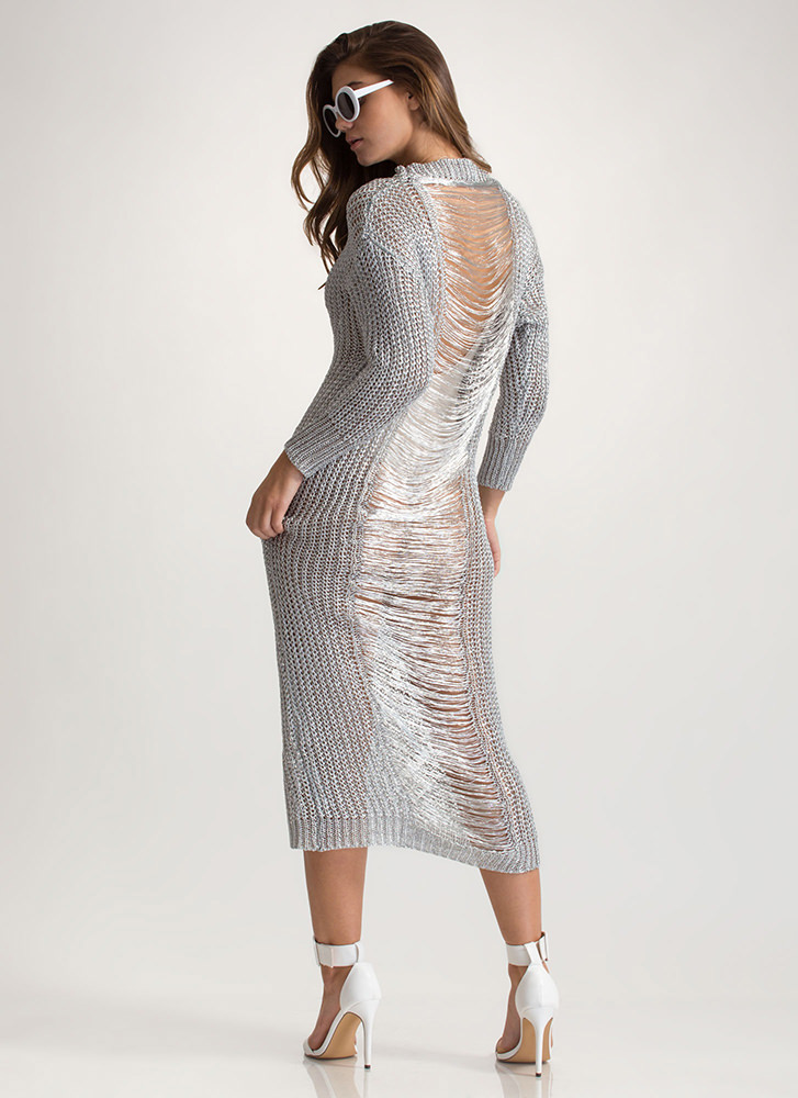 Glitz It Metallic Sweater Dress SILVER