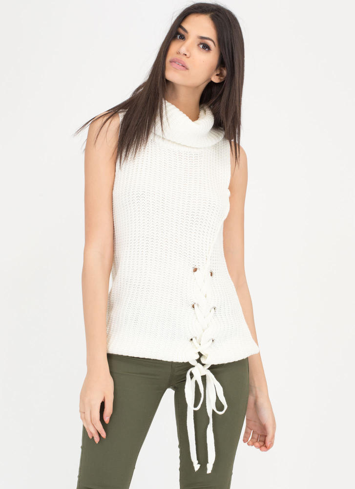 Simply Chic Lace-Up Turtleneck Sweater WHITE