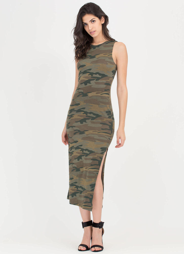 Elite Style Slit Camo Maxi Dress OLIVE