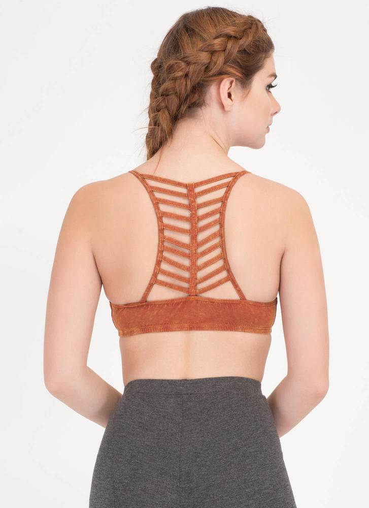 Let's Vent Caged Mineral Wash Bralette RUST