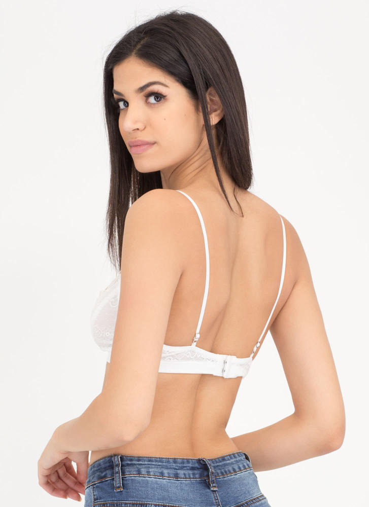 Floral Fave Caged Lace Bralette WHITE