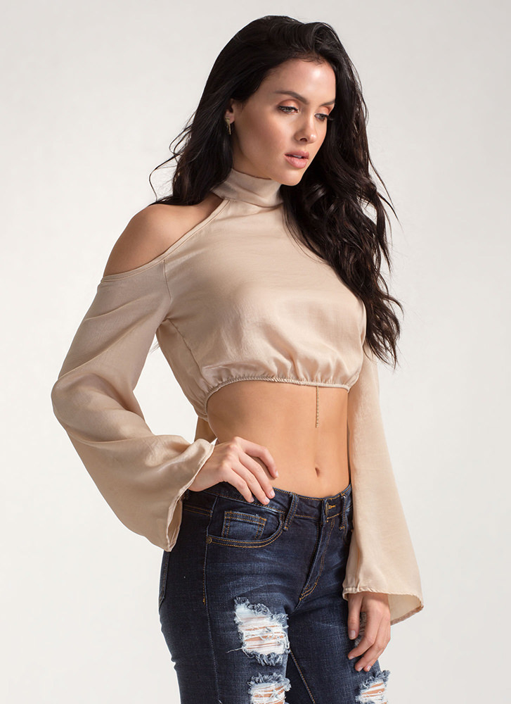 Bold Shoulders Tied Bell Sleeve Top BEIGE