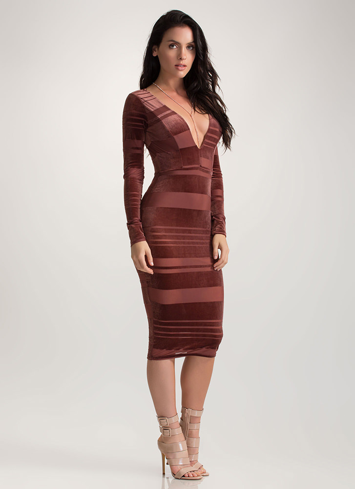 Stripe Out Plunging Mesh Velvet Dress MARSALA