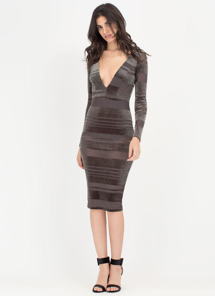 Stripe Out Plunging Mesh Velvet Dress