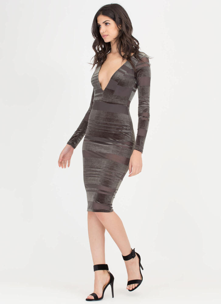 Stripe Out Plunging Mesh Velvet Dress OLIVE