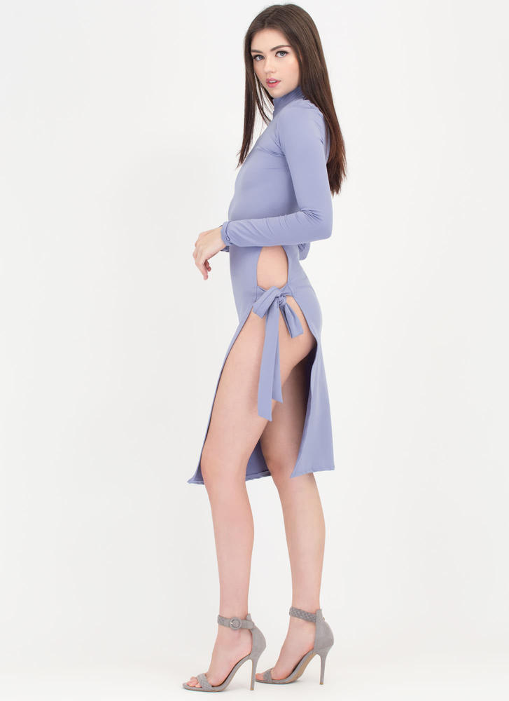 To Tie For Mockneck Slit Dress LTBLUE