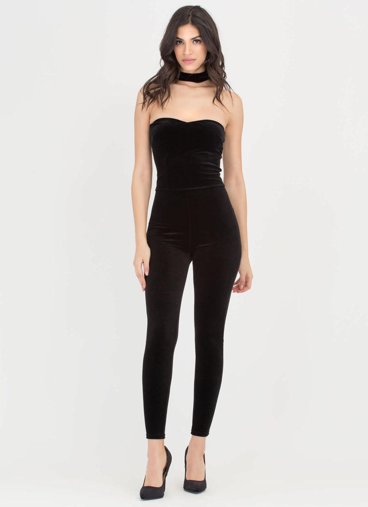 New Sweetheart Velvet Choker Jumpsuit BLACK