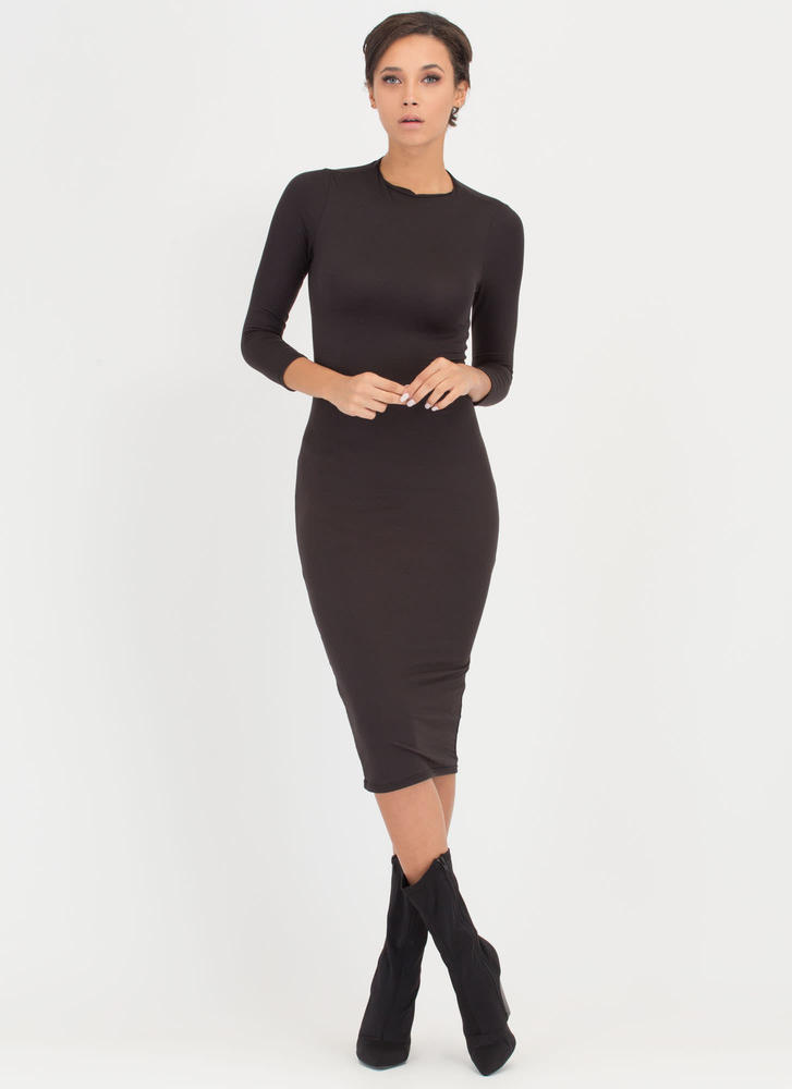 High And Mighty High Neck Midi Dress BLACK